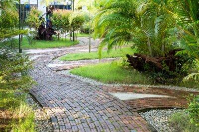 Fotomural Manera Jardín pie hecha de ladrillos de arcilla en la agradable luz de la mañana