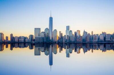 Fotomural Manhattan Skyline con el edificio One World Trade Center en tw