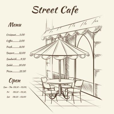 Fotomural Mano calle dibujado café fondo