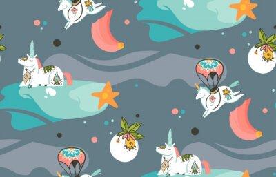 Fotomural Mano dibujada vector abstracto gráfico creativo dibujos animados ilustraciones patrón transparente con unicornios cosmonauta con tatuaje de la vieja escuela, cometas y planetas en cosmos aislados sobr