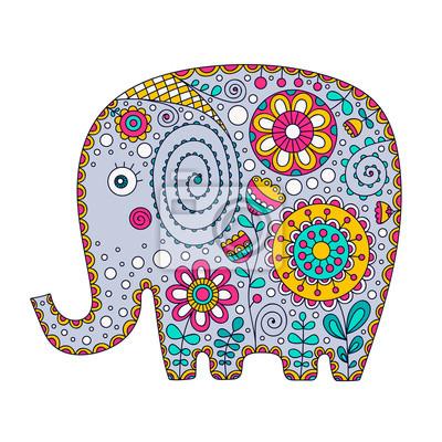 Mano Dibujado Elefante De Dibujos Animados Con Ornamento Floral