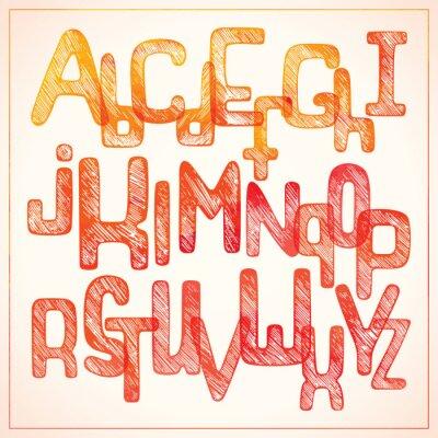 Fotomural Mano escribiendo alfabeto rojo