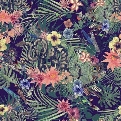 Fotomural Mano transparente dibujada patrón acuarela con boa, flores, plumas.