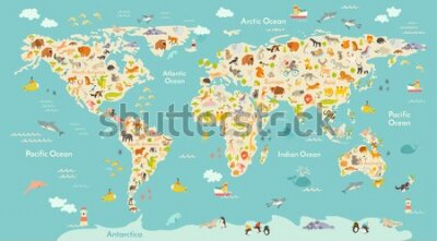 Fotomural Map animal for kid. Continent of world, animated child's map. Vector illustration animals poster, drawn Earth. Continents and sea life. South America, Eurasia, North America, Africa and Australia