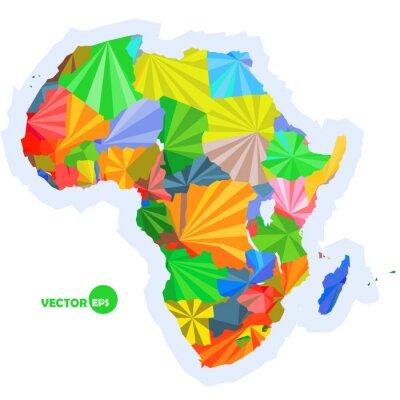 Fotomural Mapa de África. Mapa conceptual con los países Mapa de África colorido, diseño de fondo abstracto infográfico, África mapa en origami poligonal ilustración vectorial diseño de logotipo
