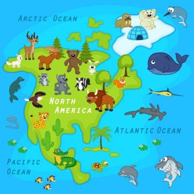Fotomural Mapa de la América del Norte con los animales - ilustración vectorial, eps