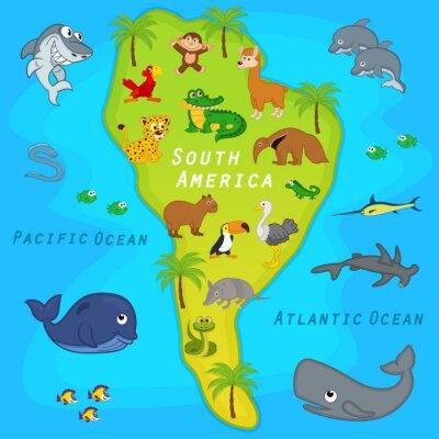 Fotomural Mapa de la América del Sur con animales - ilustración vectorial, eps