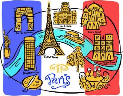 Fotomural Mapa de la bandera de París