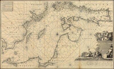 Fotomural Mapa de la cosecha del Mar Báltico