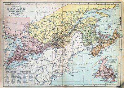 Fotomural Mapa de las provincias orientales de Canadá