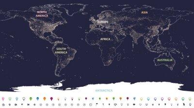 Fotomural mapa de luces de la ciudad mundial con continentes etiquetados en diferentes colores e iconos de ubicación