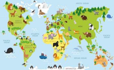 Fotomural Mapa de mundo de la historieta divertida con los animales tradicionales de todos los continentes y océanos. Ilustración vectorial para la educación preescolar y el diseño de los niños