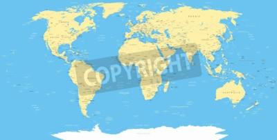 Fotomural Mapa del mundo blanco e iconos de la navegación - ilustración.