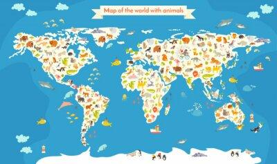 Fotomural Mapa del Mundo con animales. Hermosa ilustración vectorial de colores. Preescolar, para bebés, niños, niños y toda la gente