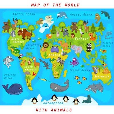 Fotomural Mapa del mundo con animales - ilustración vectorial, eps