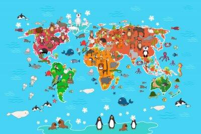 Fotomural Mapa del mundo con los animales. Mono y erizo, oso y canguro, liebre, panda del lobo y pingüino y loro. Animales mapa del mundo ilustración vectorial en estilo de dibujos animados