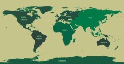 Fotomural Mapa del mundo con nombres de continente