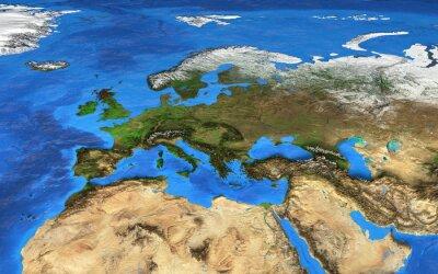 Fotomural Mapa del mundo de alta resolución centrado en Europa