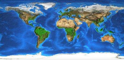 Fotomural Mapa del mundo de alta resolución y formas de relieve