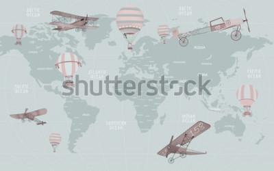 Fotomural Mapa del mundo de animales para el diseño de papel tapiz de niños