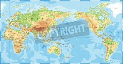 Fotomural Mapa del mundo de color topográfico político político pacífico icono de vector centrado.