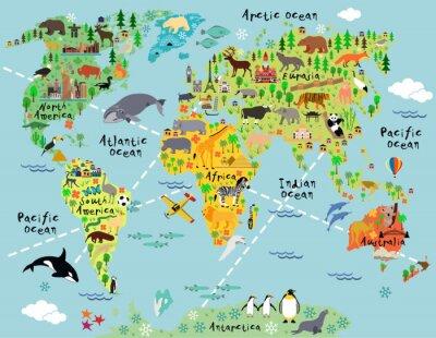 Fotomural Mapa del mundo de dibujos animados