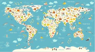 Fotomural Mapa del mundo de los animales. Ilustración colorida alegre alegre del vector para los niños y los cabritos. Con la inscripción de los océanos y continentes. Preescolar, bebé, continentes, océanos, di