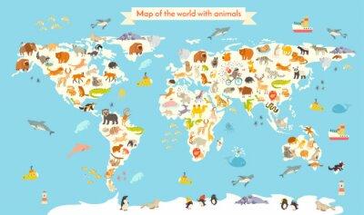 Fotomural Mapa del mundo de los animales. Ilustración vectorial de dibujos animados de colores para niños y niños. Preescolar, educación, bebé, continentes, oceanos, dibujado, tierra