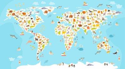 Fotomural Mapa del mundo de los mamíferos. Ilustración colorida alegre alegre del vector para los niños y los cabritos. Preescolar, bebé, continentes, océanos, dibujado, tierra