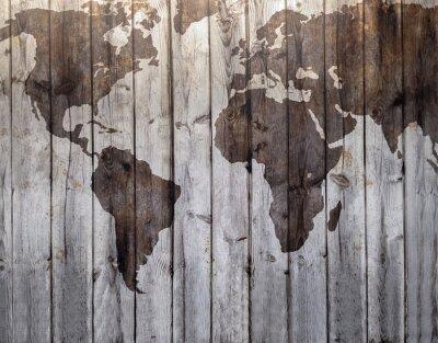Fotomural Mapa del mundo dibujado en imitación a madera de lona
