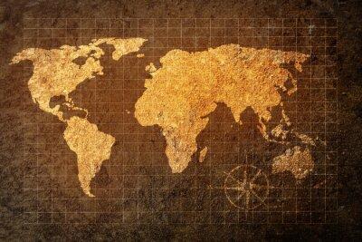Fotomural Mapa del mundo en el fondo del grunge