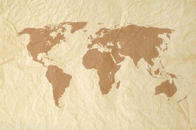 Fotomural Mapa del mundo en yallow Vintage textura de papel de antecedentes