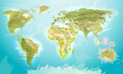 Fotomural Mapa del mundo estilo grunge