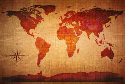 Fotomural Mapa del mundo Grunge estilo