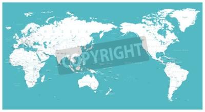 Fotomural Mapa del mundo plano de Asia en el centro del vector.