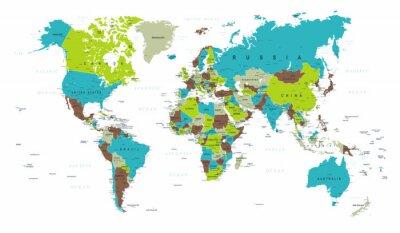 Fotomural Mapa del mundo político azul verde gris vector