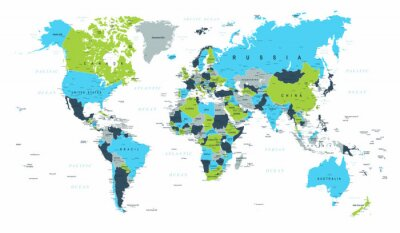 Fotomural Mapa del mundo político azul verde marrón vector