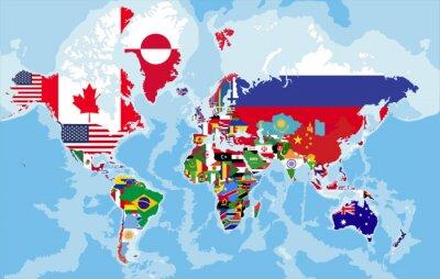 Fotomural Mapa del mundo político con las banderas de país.