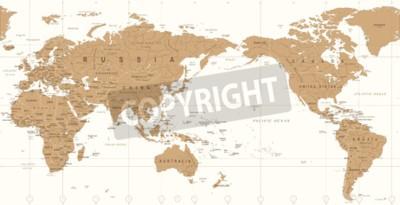 Fotomural Mapa del mundo político de la vendimia icono del vector centrado en el Pacífico.