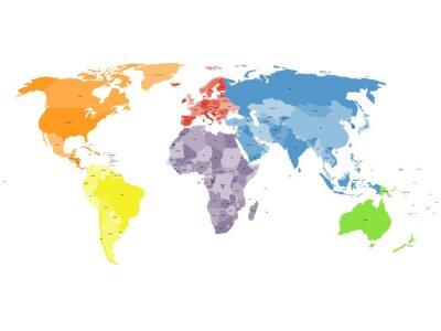 Fotomural Mapa del mundo político en el fondo blanco.