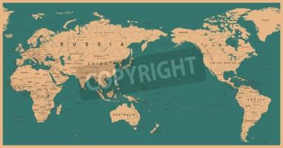 Fotomural Mapa del mundo político vintage centrado en el Pacífico - vector