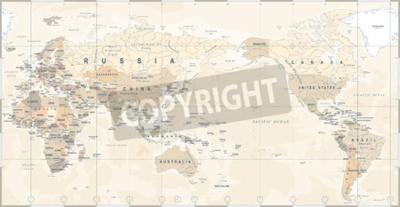 Fotomural Mapa del mundo político vintage Pacífico centrado - vector.