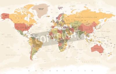 Fotomural Mapa del mundo vintage - ilustración vectorial detallada