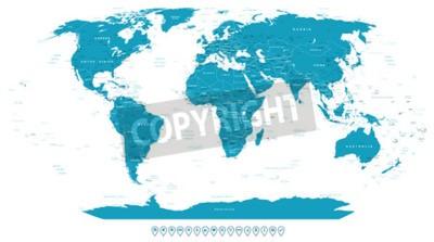 Fotomural Mapa del mundo y los iconos de navegación - ilustración.