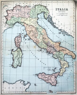 Fotomural Mapa del siglo XIX de Italia romana