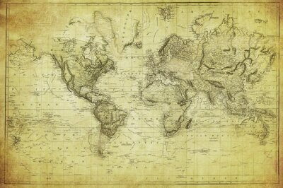 Fotomural mapa del vintage del mundo 1831