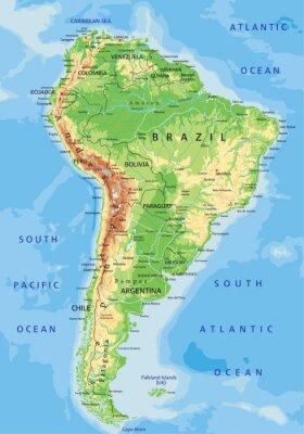 Fotomural Mapa detallado de alta América del Sur físico con el etiquetado.