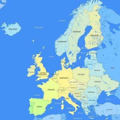 Fotomural Mapa detallado de Europa