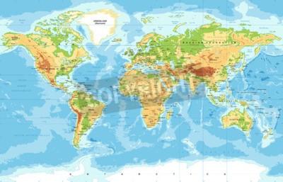 Fotomural Mapa físico del mundo del vector