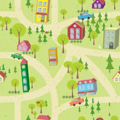 Fotomural Mapa Modelo inconsútil con las casas y caminos